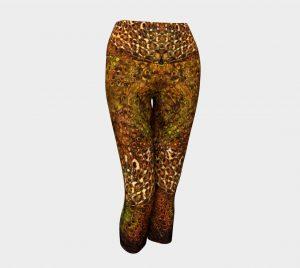 Leopard Flower Yoga Capri Pants