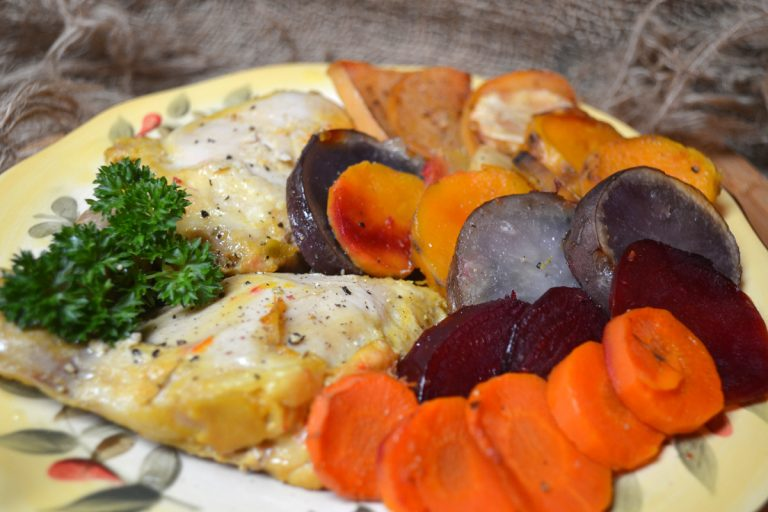 sunset chicken with root vegetables
